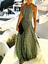 Γυναικεία Φόρεμα σε γραμμή Α Μακρύ φόρεμα Θαλασσί Κίτρινο Ανθισμένο Ροζ Πράσινο του τριφυλλιού Πορτοκαλί Μαύρο Ρουμπίνι Αμάνικο Πουά Στάμπα Καλοκαίρι Δένει στο Λαιμό Καθημερινό 2021 Τ M L XL