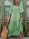 Γυναικεία Φόρεμα σε γραμμή Α Μακρύ φόρεμα Πράσινο του τριφυλλιού 3/4 Μήκος Μανικιού Γεωμετρικό Κουρελού Στάμπα Φθινόπωρο Άνοιξη Λαιμόκοψη V Καθημερινό Μπόχο Αργίες Μανίκι Flare Cuff 2021 Τ M L XL
