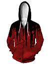 Herre Hættetrøje med lynlås med lynlås Dyr 3D Hætte Afslappet Daglig 3D-udskrivning Afslappet Hættetrøjer Sweatshirts Langærmet Løstsiddende Sort