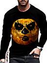 Tee T-shirt Chemise Homme Unisexe 3D effet Imprimes Photos Potiron Imprimer Manches Longues Halloween du quotidien Vacances Standard Polyester Decontractee Designer Grand et grand Col Ras du Cou