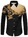 Men\'s Shirt 3D Print Floral 3D Print Button-Down Long Sleeve Street Tops Casual Fashion Breathable Comfortable Black