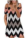 Women\'s A Line Dress Short Mini Dress Blushing Pink White Black Short Sleeve Multi Color Stripes Stars Hollow Out Zipper Hole Spring Summer Deep V Active Casual 2021 S M L XL XXL / Cotton