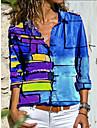 여성용 블라우스 셔츠 컬러 그라데이션 컬러 블럭 긴 소매 패치 워크 프린트 셔츠 카라 스트리트 쉬크 탑스 푸른 루비 옐로우