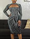 여성용 A 라인 드레스 미니 드레스 블랙 긴 소매 컬러 블럭 스팽글 가을 터틀넥 캐쥬얼 섹시 2021 S M L XL XXL