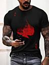 Men\'s Unisex Tee T shirt Shirt 3D Print Poker Letter Print Short Sleeve Daily Tops Casual Designer Big and Tall Blue Green Orange / Summer