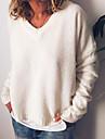 Γυναικεία Πουλόβερ Πλεκτό Συμπαγές Χρώμα Στυλάτο Βαμβάκι Μακρυμάνικο Πουλόβερ ζακέτες Λαιμόκοψη V Φθινόπωρο Χειμώνας Ανθισμένο Ροζ Γκρίζο Χακί