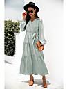 Γυναικεία Φόρεμα σε γραμμή Α Μακρύ φόρεμα Ανθισμένο Ροζ Πράσινο του τριφυλλιού Μαύρο Ρουμπίνι Μακρυμάνικο Φλοράλ Με Κορδόνια Φθινόπωρο Χειμώνας Λαιμόκοψη V Κομψό 2021 Τ M L XL