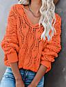 Γυναικεία Πουλόβερ Πλεκτό Συμπαγές Χρώμα Στυλάτο Μακρυμάνικο Πουλόβερ ζακέτες Λαιμόκοψη V Φθινόπωρο Χειμώνας Θαλασσί Γκρίζο Πορτοκαλί / Εξόδου