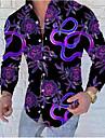 男性用 シャツ 3Dプリント フラワー ボタンダウン 長袖 日常 トップの ヒップホップ ビーチスタイル パープル
