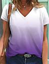 Női Póló Színátmenet V-alakú Alap Felsők Világos rózsaszín Fehér + Lila Zöld + kék
