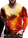 Hombre Unisexo Camiseta Impresion 3D Estampados Fuego Construcciones Estampado Manga Larga Diario Ajuste regular Tops Casual De Diseno Grande y alto Rojo