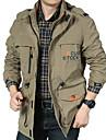 رجالي جاكيت مناسب للبس اليومي الخريف الشتاء عادية معطف عادي الدفء رياضي جاكتس كم طويل لون الصلبة منقش أخضر داكن كاكي أسود