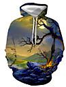 男性用 プルオーバーフーディースウェットシャツ 植物 グラフィック プリント フード付き カジュアル 日常 3Dプリント カジュアル ストリートファッション パーカー トレーナー 長袖 ブルー グリーン ネービーブルー