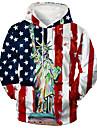 Herre Unisex Pullover-hættetrøje Grafiske tryk Amerikansk flag Trykt mønster Hætte Daglig Sport 3D-udskrivning 3D-tryk Afslappet Hættetrøjer Sweatshirts Langærmet Rød