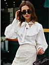 Γυναικεία Μπλούζα Πουκάμισο Σκέτο Μακρυμάνικο Με Κορδόνια Όρθιος γιακάς Βασικό Κομψό στυλ street Άριστος Λευκό
