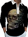 Men\'s Golf Shirt 3D Print Skull 3D Print Zipper Long Sleeve Street Tops Sportswear Casual Fashion Comfortable Black