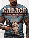 Hombre Tee Camiseta Impresion 3D Grafico Letra Tallas Grandes Manga Corta Casual Tops Basico Retro De Diseno Corte Slim A B C