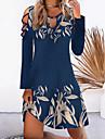Női A vonalú ruha Térdig érő ruha Sötétkék Hosszú ujj Nyomtatott Nyomtatott Ősz Tél Kerek Alkalmi Normál 2021 S M L XL XXL 3XL