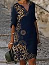 Női Váltó ruha Térdig érő ruha Medence Féhosszú Virágos Nyomtatott Tavasz Nyár V-alakú meleg Elegáns vakációs ruhák Bő 2021 M L XL XXL 3XL
