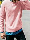 Ανδρικά Γιούνισεξ Πουλόβερ Πλεκτό Συμπαγές Χρώμα Στυλάτο Πεπαλαιωμένο Στυλ Μακρυμάνικο Πουλόβερ ζακέτες Στρογγυλή Ψηλή Λαιμόκοψη Φθινόπωρο Χειμώνας Θαλασσί Κίτρινο Ανθισμένο Ροζ