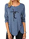 Γυναικεία Ζωγραφιά Μπλουζάκι Κείμενο Μακρυμάνικο Κουμπί Στάμπα Στρογγυλή Λαιμόκοψη Βασικό Άριστος Κανονικό Θαλασσί Βυσσινί Χακί