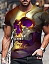 Herren Unisex T-Shirt 3D-Druck Grafik-Drucke Totenkopf Motiv Bedruckt Kurzarm Taeglich Normale Passform Oberteile Alltag Designer Gross und hoch Grau