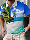 Men\'s Golf Shirt Scenery Zipper Print Short Sleeve Street Tops Sportswear Casual Fashion Hawaiian Blue