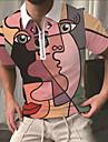 Pánské Golfová košile Abstraktní Lidská tvář Zip Tisk Krátký rukáv ulice Topy Sportovní oblečení Na běžné nošení Módní Prodyšné Světlá růžová