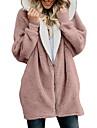 여성용 테디 코트 일상 가을 겨울 긴 코트 루즈핏 베이직 자켓 긴 소매 솔리드 맞춤 루스 네이비 핑크 / 봄