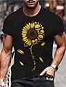 Pánské Unisex Trička Tričko Horká ražba Grafické tisky Slunečnice Větší velikosti Tisk Krátký rukáv Ležérní Topy Bavlna Základní Designové Velký a vysoký Šedá