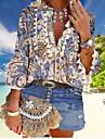 여성용 플러스 사이즈 보헤미안 테마 보호 블라우스 셔츠 플로럴 태슬 프린트 V 넥 보헤미안 스타일 캐쥬얼 해변 스타일 탑스 푸른 클로버