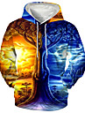 בגדי ריקוד גברים יוניסקס סווטשירט קפוצ\'ון בסוודרים הדפסים גרפיים נוף דפוס עם קפוצ\'ון יומי ספורט הדפסת תלת מימד הדפסת תלת מימד יום יומי קפוצ\'ונים חולצות טריקו שרוול ארוך פול