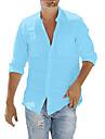 cămașă pentru bărbați buton de buzunar de culoare solidă mâneci lungi bluze de stradă bumbac stil modern casual casual albastru deschis bleumarin # gri / toamnă / primăvară / vară / plajă