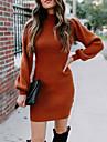 Dámské Svetrové šaty Krátké mini šaty Bílá Rubínově červená Dlouhý rukáv Pevná barva Nabírané šaty Podzim Zima Rolák Na běžné nošení Lucerna rukáv 2021 S M L XL