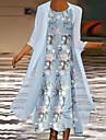 Női Kétrészes ruha Maxi hosszú ruha Világoskék Háromnegyedes Virágos Nyomtatott Ősz Kerek Alkalmi Normál 2021 S M L XL XXL 3XL