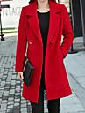 여성용 코트 캐쥬얼 일상 가을 겨울 긴 코트 V 넥 보통 따뜨하게 유지 캐쥬얼 자켓 긴 소매 한 색상 퀼트 푸른 옐로우 블랙