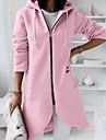 여성용 코트 캐쥬얼 일상 가을 겨울 긴 코트 지퍼 V 넥 보통 따뜨하게 유지 캐쥬얼 자켓 긴 소매 한 색상 퀼트 블러슁 핑크 그레이 클로버