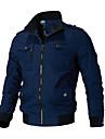رجالي جاكيت مناسب للبس اليومي خريف & شتاء عادية معطف مرتفعة عادي جاكتس كم طويل لون سادة أزرق أخضر داكن كاكي
