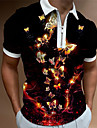 Men\'s Golf Shirt Butterfly Animal Zipper Print Short Sleeve Street Regular Fit Tops Sportswear Casual Fashion Comfortable Black / Summer