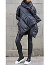 Γυναικεία Πουπουλένιο Causal Καθημερινά Ρούχα Χειμώνας Κανονικό Παλτό Κουμπωμένο μέτωπο Ζιβάγκο Υπερμεγέθη Διατηρείτε Ζεστό Καθημερινό Κομψό στυλ street Σακάκια Μακρυμάνικο Μονόχρωμο Υπερμεγέθη Μαύρο