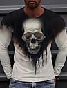 Herren Unisex T-Shirt 3D-Druck Grafik-Drucke Totenkopf Motiv Bedruckt Langarm Taeglich Normale Passform Oberteile Alltag Designer Gross und hoch Schwarz