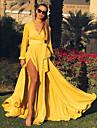 여성용 A 라인 드레스 맥시 드레스 옐로우 루비 라이트 그린 긴 소매 한 색상 레이스 -업 가을 V 넥 우아함 캐쥬얼 파티 보통 2021 M L XL XXL