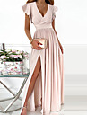 Γυναικεία Φόρεμα σε γραμμή Α Μακρύ φόρεμα Ανθισμένο Ροζ Κοντομάνικο Συμπαγές Χρώμα Σκίσιμο Με Βολάν Άνοιξη Καλοκαίρι Λαιμόκοψη V Κομψό Επίσημο Σέξι Πάρτι Κανονικό 2021 Τ M L XL / Φόρεμα για πάρτυ