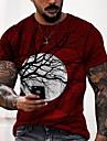 Men\'s Unisex T shirt 3D Print Graphic Prints Tree Moon Print Short Sleeve Halloween Regular Fit Tops Casual Designer Big and Tall Red / Summer