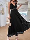 Γυναικεία Φόρεμα ριχτό από τη μέση και κάτω Μακρύ φόρεμα Μαύρο Αμάνικο Συμπαγές Χρώμα Δαντέλα Φθινόπωρο Καλοκαίρι Λαιμόκοψη V Καθημερινό Σέξι Κανονικό 2021 Τ M L XL / Φόρεμα για πάρτυ
