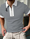 Bărbați Cămașă de golf Culoare solidă Scrisă Fermoar Imprimeu Manșon scurt Stradă Topuri Simplu Îmbrăcăminte sportivă Casual Modă Gri