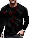T-shirt Homme Unisexe 3D effet Imprimes Photos Rose Imprime Manches Longues Quotidien Vacances Standard Polyester Simple Designer Grand et grand Col Ras du Cou