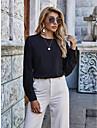 Γυναικεία Μπλούζα Πουκάμισο Σκέτο Μακρυμάνικο Δαντέλα Κουρελού Στρογγυλή Λαιμόκοψη Βασικό Κομψό στυλ street Άριστος Μαύρο