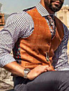 男性用 ベスト チョッキ 日常着 レジャー チェック シングルブレスト レギュラー ポリエステル 男性用 スーツ オレンジ - Vネック