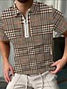 Per uomo Camicia da golf Golf A quadri Cerniera Con stampe Manica corta Strada Top Abbigliamento sportivo Casuale Di tendenza Traspirante Cachi